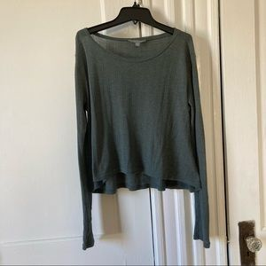 Rubbish Knit Long Sleeve Swing Cropped Top
